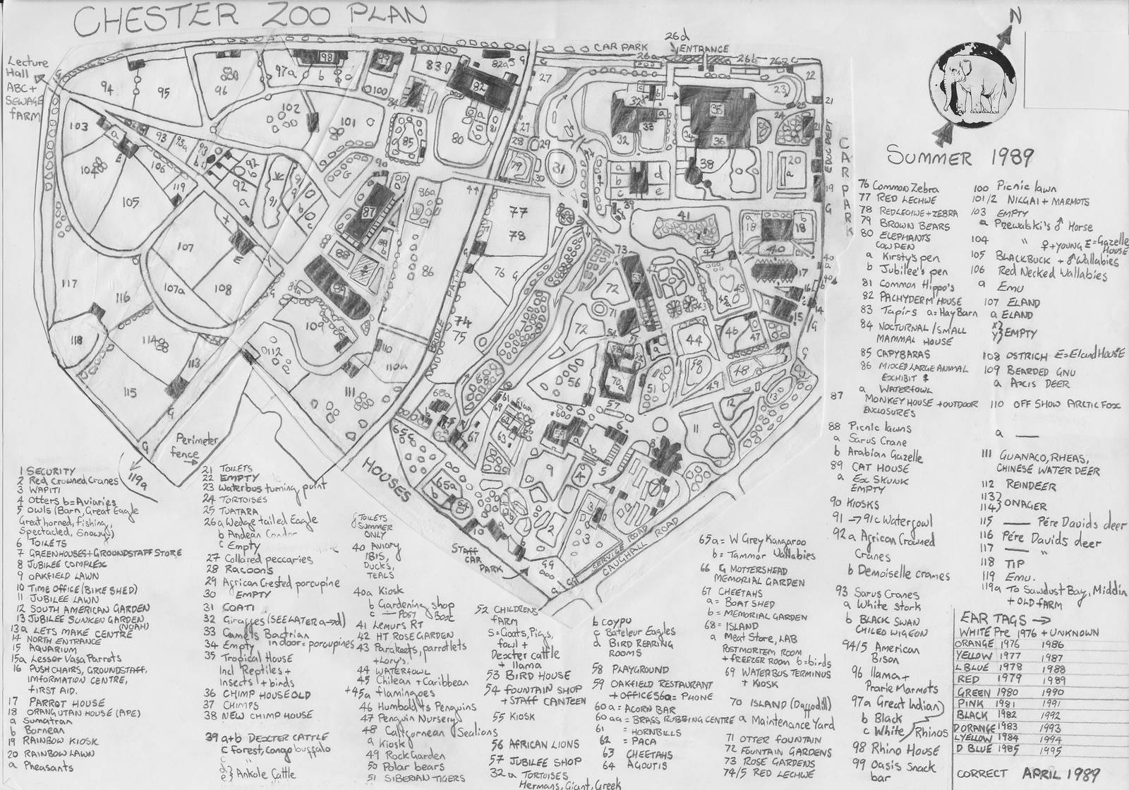 Chester Zoo Map April 1989